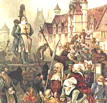 Jacques de Molay burned at the stake